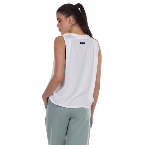 BODY ACTION WOMEN'S LOOSE FIT TANK 041124 WHITE