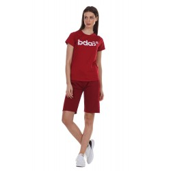 BODY ACTION WOMEN'S ACTICE SHORT SLEEVE TEE 051132 D.RED