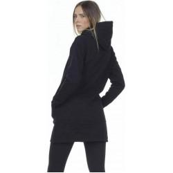 WOMEN OVERSIZED HOODED DRESS BLACK
