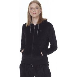 WOMEN VELOUR HOODIE JACKET BLACK