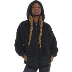 BODY ACTION WOMEN'S OVERSIZED FULL-ZIP SHE 071123 BLACK