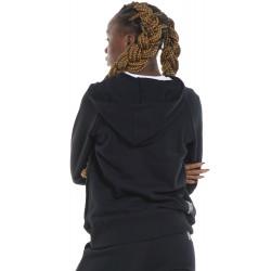 BODY ACTION WOMEN'S FLEECE FULL ZIP HOODIE 071122 BLACK